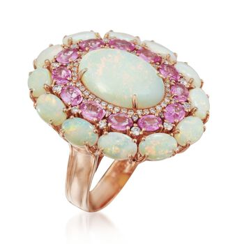 Opal and 2.20 ct. t.w. Pink Sapphire Ring With Diamonds in 14kt Rose Gold, , default