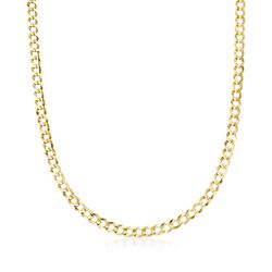 Men's 5.7mm 14kt Yellow Gold Comfort Curb Chain Necklace, , default