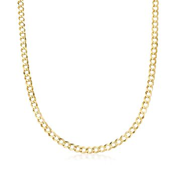 "Men's 5.7mm 14kt Yellow Gold Comfort Curb Chain Necklace. 20"", , default"