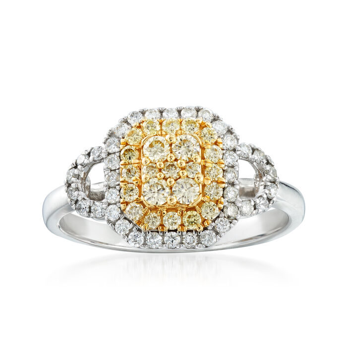 C. 2000 Vintage .65 ct. t.w. White and Yellow Diamond Cluster Ring in 14kt Two-Tone Gold