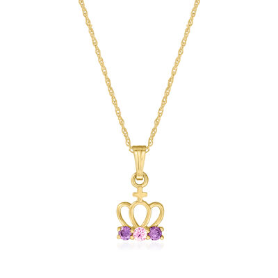Child's .15 ct. t.w. Pink and Lavender CZ Crown Pendant Necklace in 14kt Yellow Gold