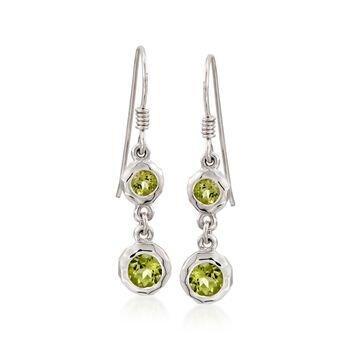 """Zina Sterling Silver """"Ripples"""" 1.50 ct. t.w. Peridot Drop Earrings, , default"""