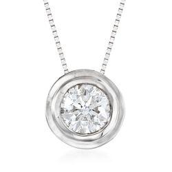 ".75 Carat Bezel-Set Diamond Solitaire Necklace in 14kt White Gold. 18"", , default"