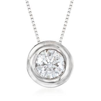 """.75 Carat Bezel-Set Diamond Solitaire Necklace in 14kt White Gold. 18"""", , default"""