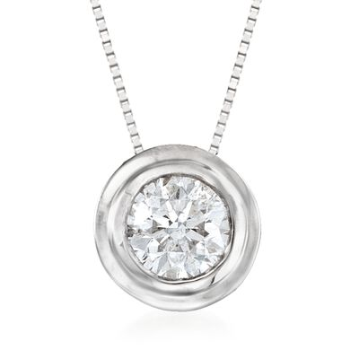 .75 Carat Bezel-Set Diamond Solitaire Necklace in 14kt White Gold, , default