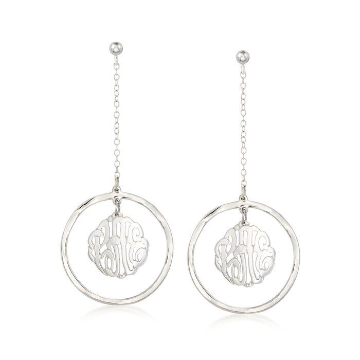 Sterling Silver Monogram Center Drop Earrings