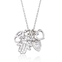 "Italian Sterling Silver Talisman Charm Necklace. 18"", , default"
