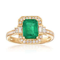 1.80 Carat Emerald and .35 ct. t.w. Diamond Ring in 18kt Yellow Gold, , default