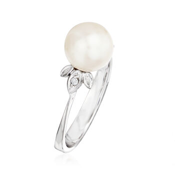 C. 1970 Vintage 7.5mm Cultured Pearl Floral Ring in 14kt White Gold. Size 5.5