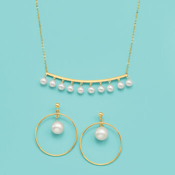 """Italian 8-8.5mm Cultured Pearl Drop and Hoop Earrings in 14kt Yellow Gold. 1 1/4"""", , default"""