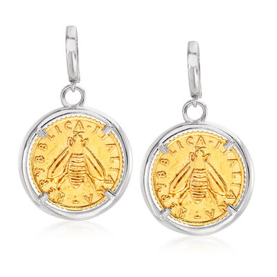 Italian Replica Lira Bee Coin Drop Earrings in Sterling Silver and 18kt Gold Over Sterling, , default