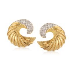 C. 1990 Vintage .50 ct. t.w. Diamond Ridged Swirl Earrings in 18kt Yellow Gold, , default