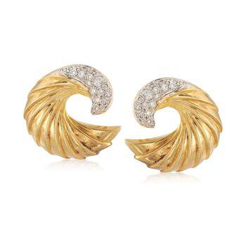 C. 1990 Vintage .50 ct. t.w. Diamond Ridged Swirl Earrings in 18kt Yellow Gold , , default