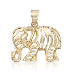 14kt Yellow Gold Openwork Elephant Pendant, , default