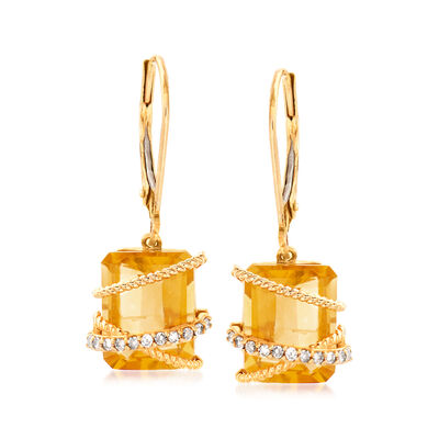 6.25 ct. t.w. Citrine and .12 ct. t.w. Diamond Drop Earrings in 14kt Yellow Gold