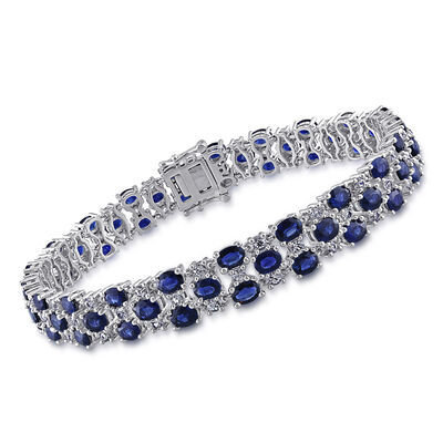 15.10 ct. t.w. Blue and White Sapphire Bracelet in 14kt White Gold