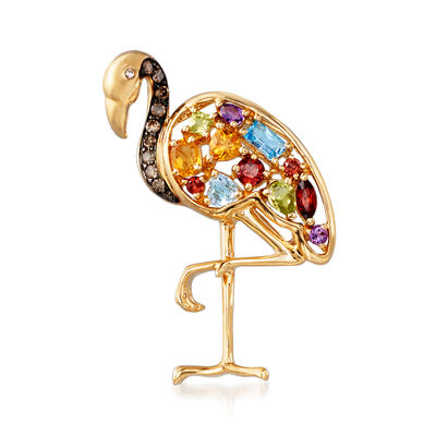 1.50 ct. t.w. Multi-Gemstone and .17 ct. t.w. Brown Diamond Flamingo Pin/Pendant in 14kt Yellow Gold with Diamond Accents, , default
