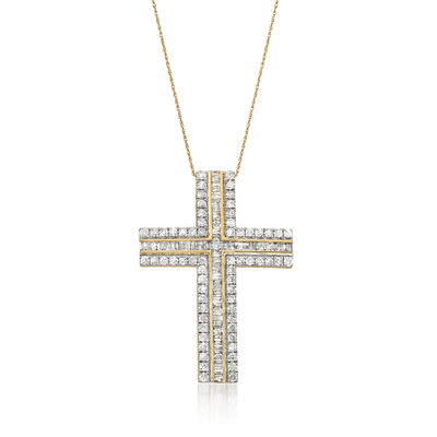 3.00 ct. t.w. Diamond Cross Pendant Necklace in 14kt Yellow Gold, , default