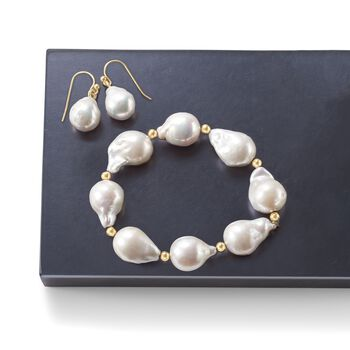 13-14mm Cultured Baroque Pearl Stretch Bracelet With 14kt Yellow Gold, , default