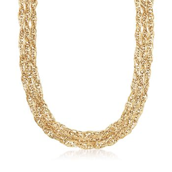 14kt Yellow Gold Twisted Curb-Link Necklace, , default