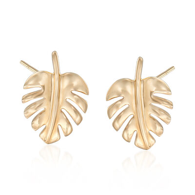 14kt Yellow Gold Leaf Stud Earrings, , default