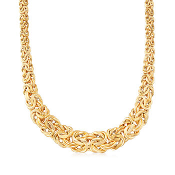 Italian 14kt Yellow Gold Byzantine Necklace, , default