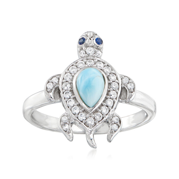 Larimar and .28 ct. t.w. White Zircon Turtle Ring in Sterling Silver