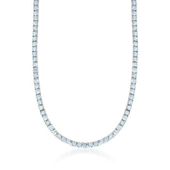 """45.15 ct. t.w. Blue Topaz Tennis Necklace in Sterling Silver. 16"""", , default"""