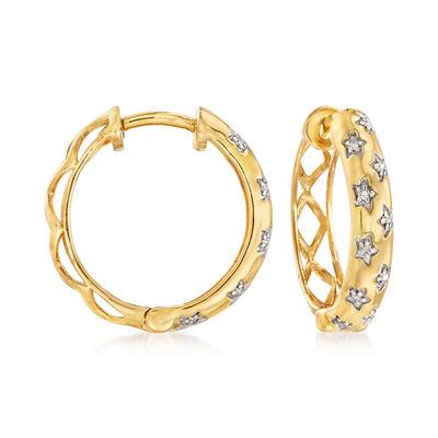 .10 ct. t.w. Diamond Star Hoop Earrings in 18kt Gold Over Sterling