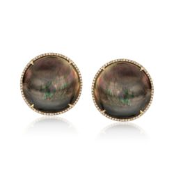 Black Mother-Of-Pearl Earrings With .59 ct. t.w. Diamonds in 14kt Yellow Gold , , default