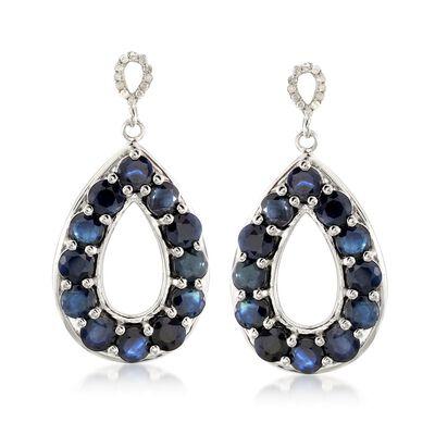 7.00 ct. t.w. Sapphire and .10 ct. t.w. Diamond Teardrop Earrings in Sterling Silver , , default