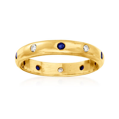 C. 1980 Vintage .20 ct. t.w. Sapphire and .15 ct. t.w. Diamond Ring in 18kt Yellow Gold