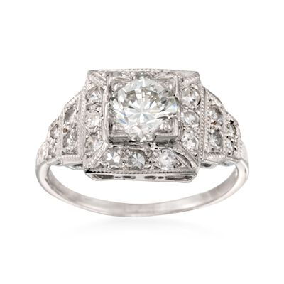 C. 2000 Vintage 1.40 ct. t.w. Certified Diamond Engagement Ring in Platinum, , default