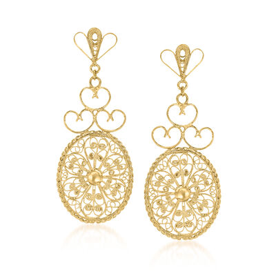 Italian 18kt Gold Over Sterling Filigree Drop Earrings