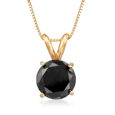 3.00 Carat Black Diamond Solitaire Necklace in 14kt Yellow Gold, , default