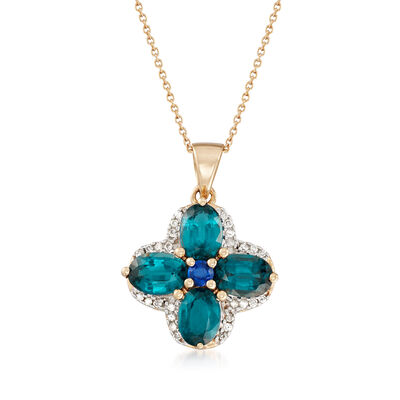 3.90 ct. t.w. Kyanite and .16 ct. t.w. Diamond Flower Pendant Necklace in 14kt Yellow Gold, , default