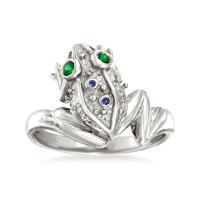 Sterling Silver Frog Ring with Multi-Gemstone Accents