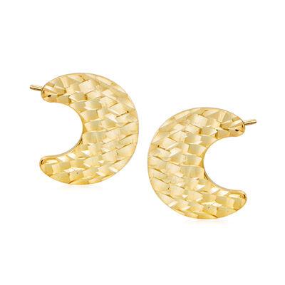 Italian 14kt Yellow Gold Crescent Moon Stud Earrings, , default