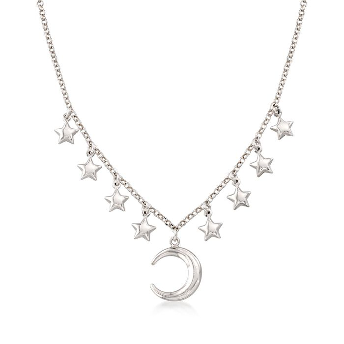 Italian Sterling Silver Moon and Stars Charm Necklace, , default