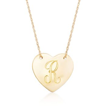 14kt Yellow Gold Personalized Heart Necklace, , default