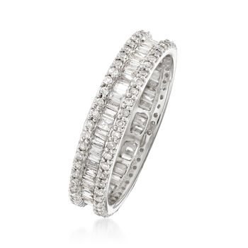 1.00 ct. t.w. Baguette and Round Diamond Eternity Ring in 14kt White Gold