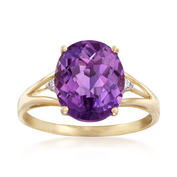 3.95 Carat Amethyst Ring With Diamond Accents in 14kt Yellow Gold, , default