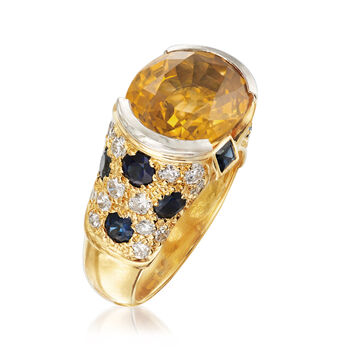 C. 1990 Vintage 9.45 ct. t.w. Yellow and Blue Sapphire Ring with 1.00 ct. t.w. Diamonds in 18kt Yellow Gold. Size 6