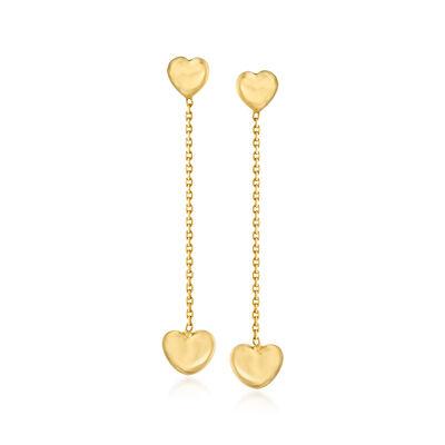 14kt Yellow Gold Heart Drop Earrings, , default