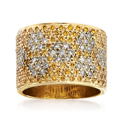 C. 1980 Vintage 1.50 ct. t.w. White and Yellow Pave Diamond Ring in 14kt Yellow Gold, , default