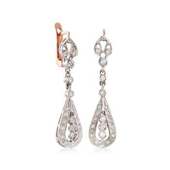 C. 2000 Vintage .70 ct. t.w. Diamond Drop Earrings in 14kt Two-Tone Gold
