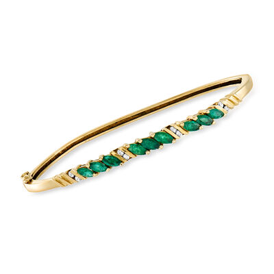 C. 1980 Vintage 1.35 ct. t.w. Emerald and .16 ct. t.w. Diamond Bangle Bracelet in 14kt Yellow Gold, , default