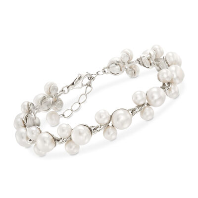 5-7.5mm Cultured Pearl Trio Bracelet in Sterling Silver, , default