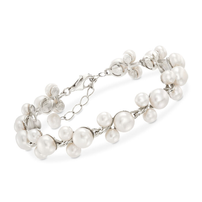 "5-7.5mm Cultured Pearl Trio Bracelet in Sterling Silver. 7"", , default"