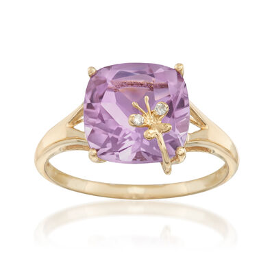 3.80 Carat Amethyst Ring with  Diamond Accented Butterfly in 14kt Yellow Gold, , default